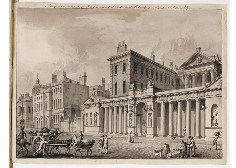 Drawing made for publication showing the Admiralty Screen, Whitehall, 1759.