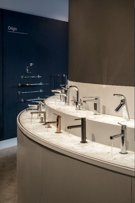 Working tap and bathroom accessories displays at VitrA London.