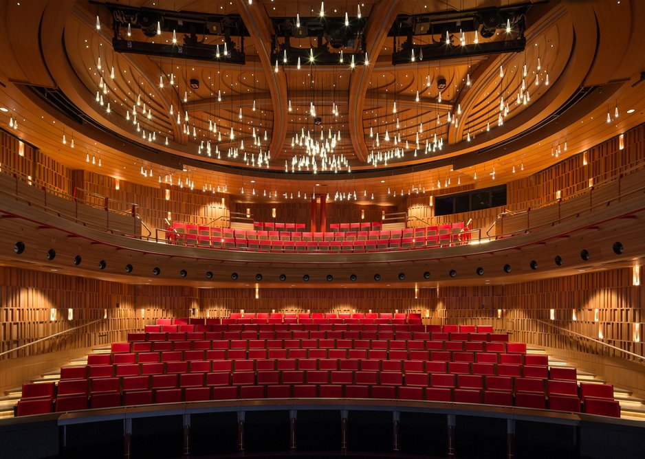 Royal Academy of Music, Theatre and Recital Hall, Ian Ritchie Architects. Wood Awards Interiors winner 2018.