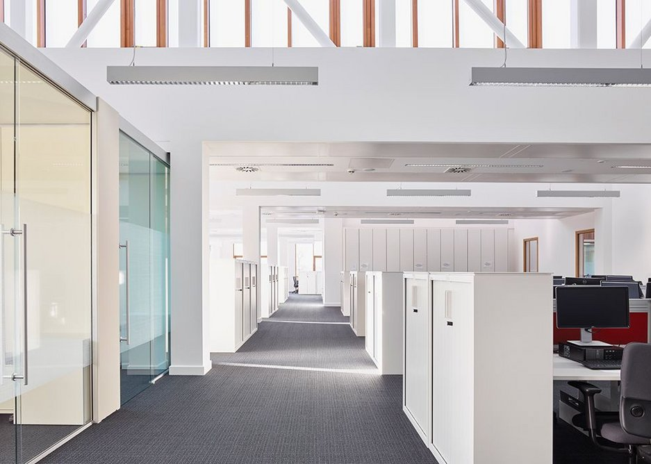 Staff level with open and closed office space.