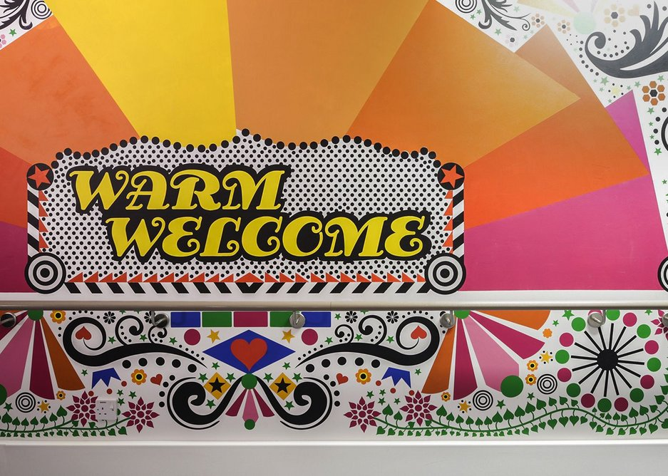 Morag Myerscough's vibrant graphics at The Royal London Children's Hospital were part of an arts programme led by Vital Arts to create a welcoming hospital environment.