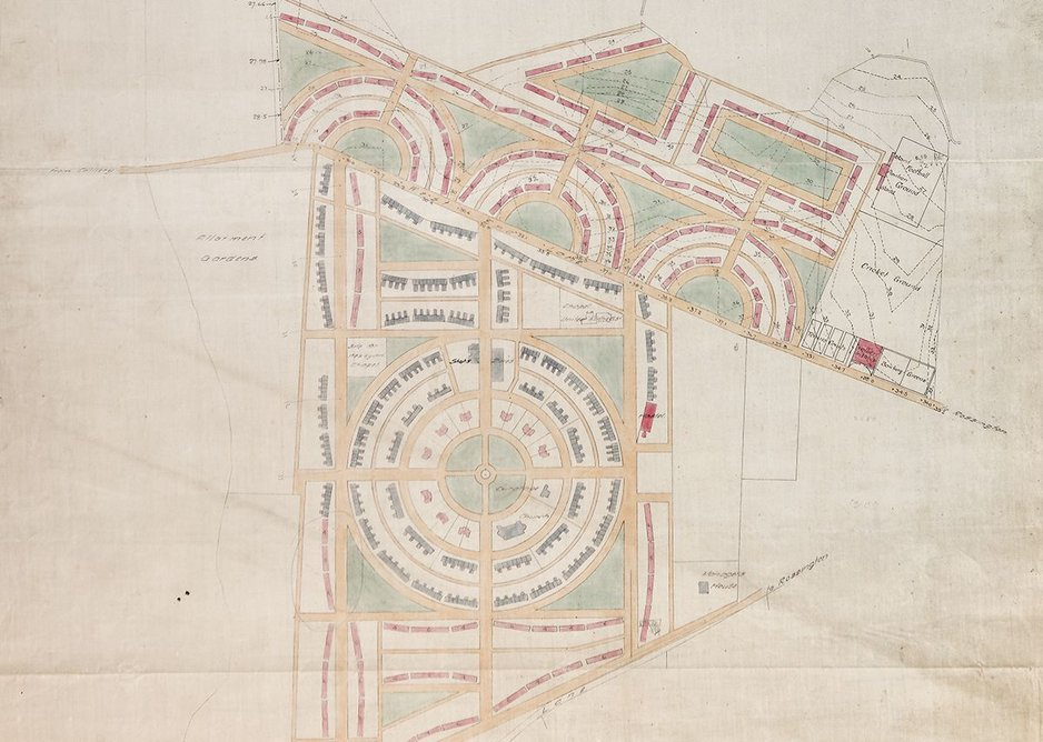Barry Parker's plan for Rossington Colliery Village (now New Rossington, Doncaster). Dated Oct 9 1919. Courtesy of the Garden City Collection