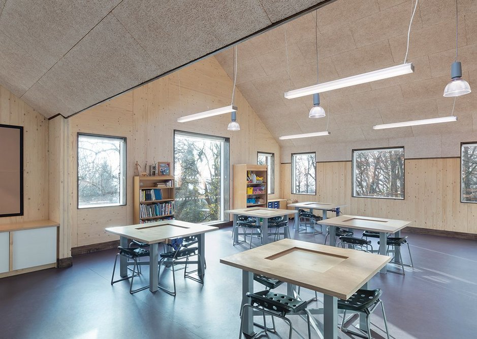 One of the STEAM innovation hub classrooms with specially designed tables.