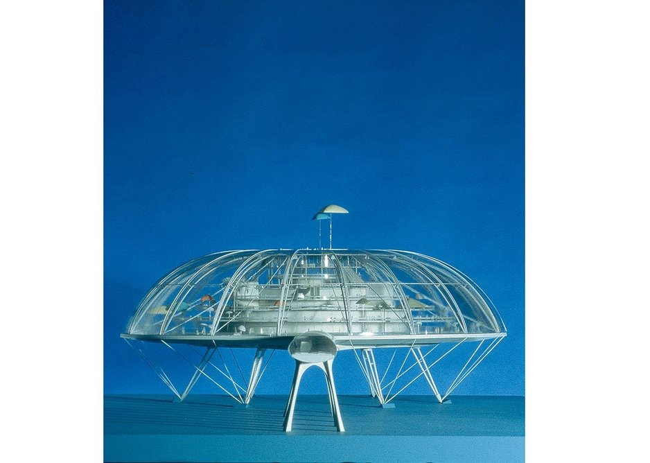 The Climatron, Terry Farrell's final year design thesis in 1961. Influenced by the teachings of Buckminster Fuller, the scheme was a high-tech enclosed holiday island connected to the base of Blackpool Tower.