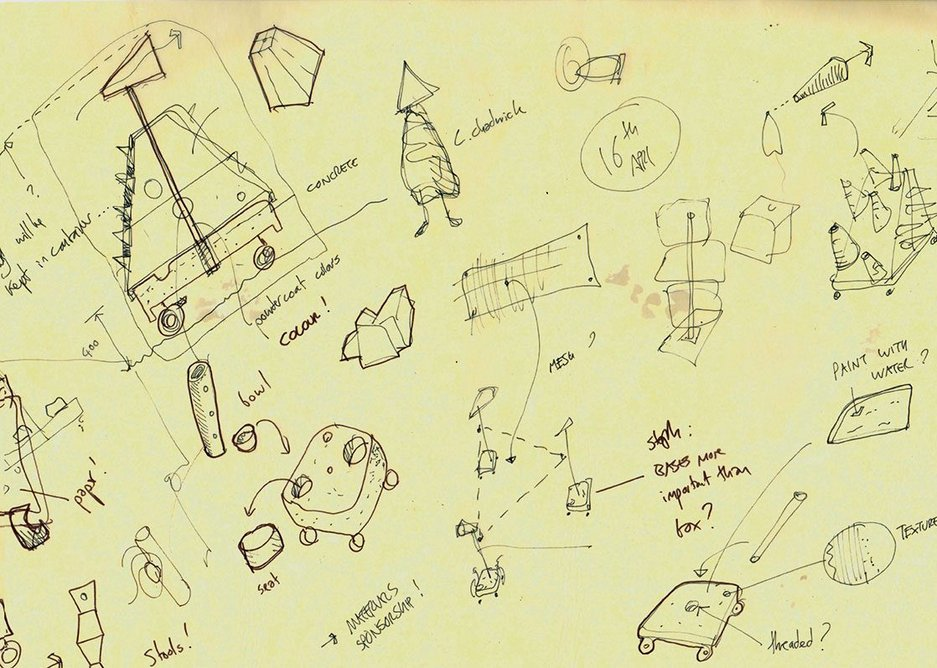 Sketches for play structures in the grounds of the Hepworth in Wakefield.