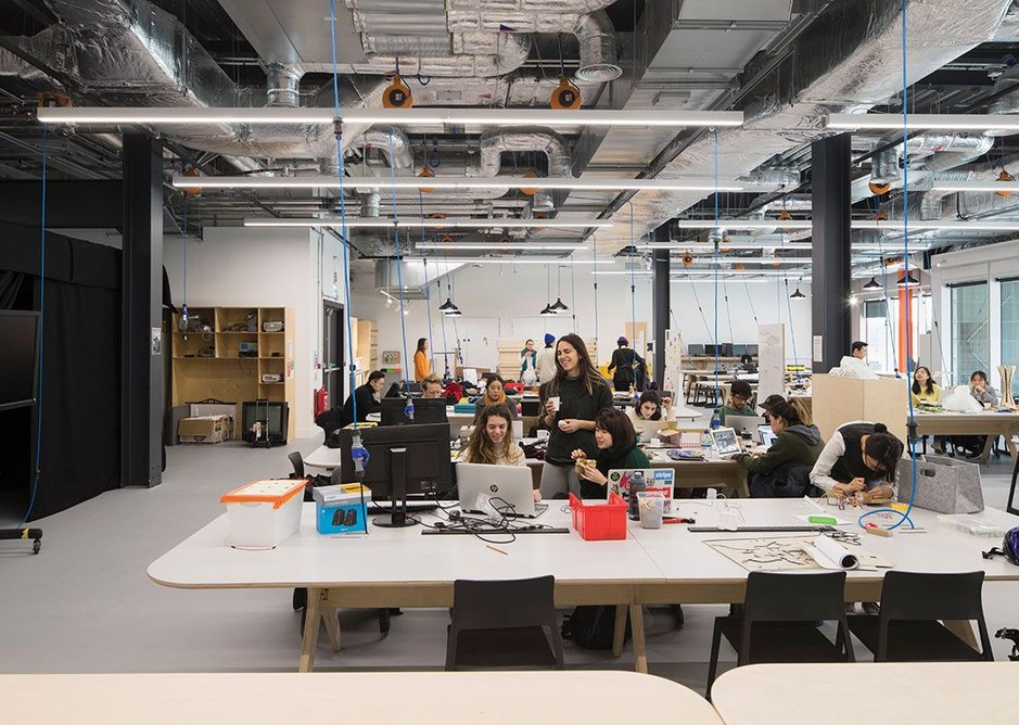 Studio space is designed to be easily reconfigured and is positioned at the front of the ground floor to take advantage of the glazed elevation.