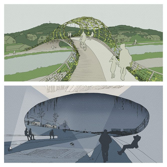 New cycle and pedestrian bridge at Wester Hailes, envisaged by citizens Eoghan Howard and Emily Stevenson with Katie Hay of 7N Architects as part of What if…?/Scotland. Image Courtesy of 7N Architects