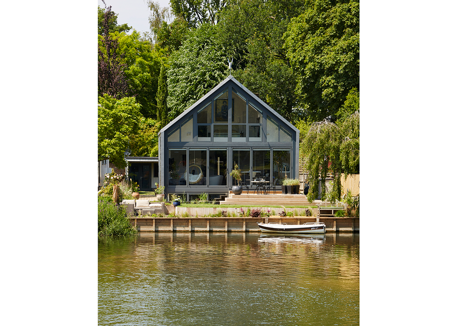 Formosa, The Amphibious House in Buckinghamshire, UK, 2016. Designed by Baca Architects, the building rises up in its dock in times of flood.