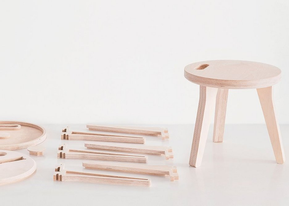 Edie Stool in birch plywood, designed by David and Joni Steiner for Open Desk, London, 2013.