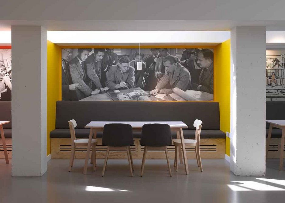 Each booth banquette is backed by an image from the archives.