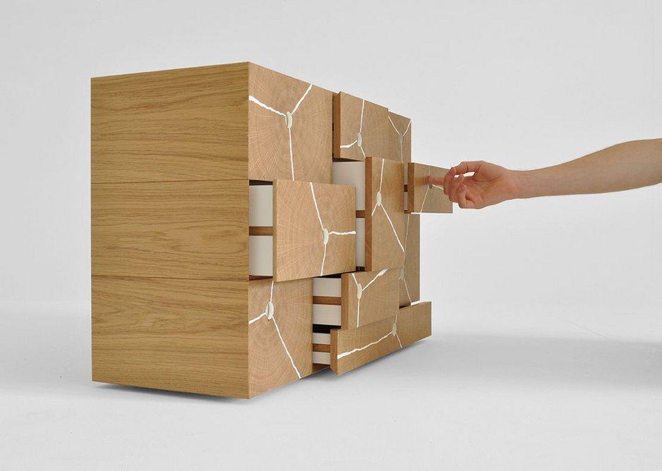 Bespoke category - Charles-Byron's Log Stack Cabinet highlights the beauty of European Oak end grain.