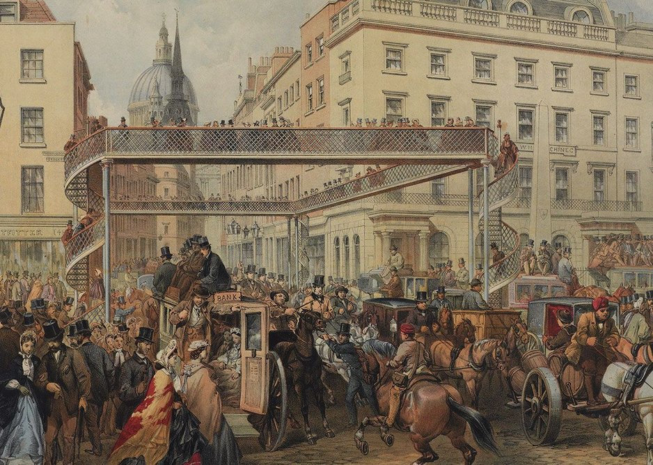 A proposal for a new foot bridge at the crossing of Ludgate Hill and Fleet Street, designed by Thomas Dunn, 1862. © London Metropolitan Archives (City of London).