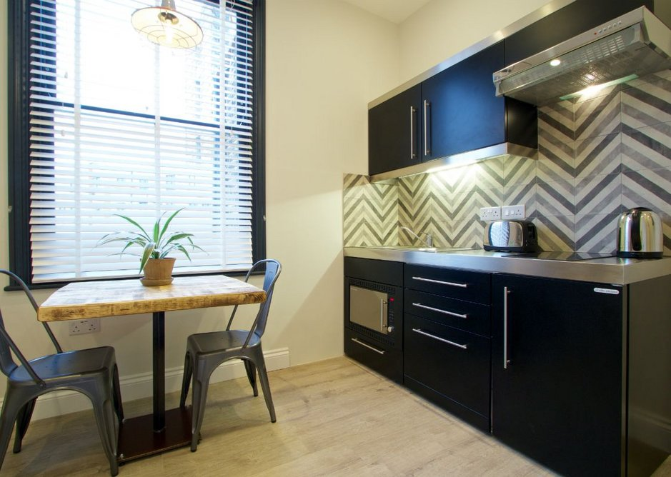 'We're regularly seeing this type of building refurbished into HMOs and the student market in particular is developing rapidly,' says Neill Andrew, director at Elfin Kitchens. 'Space is always at a premium, so our compact kitchens lend themselves brilliantly.'