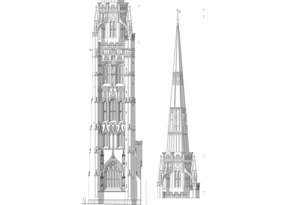South elevation of St Michael's, Coventry (1429). Restored by Gilbert Scott in 1851.