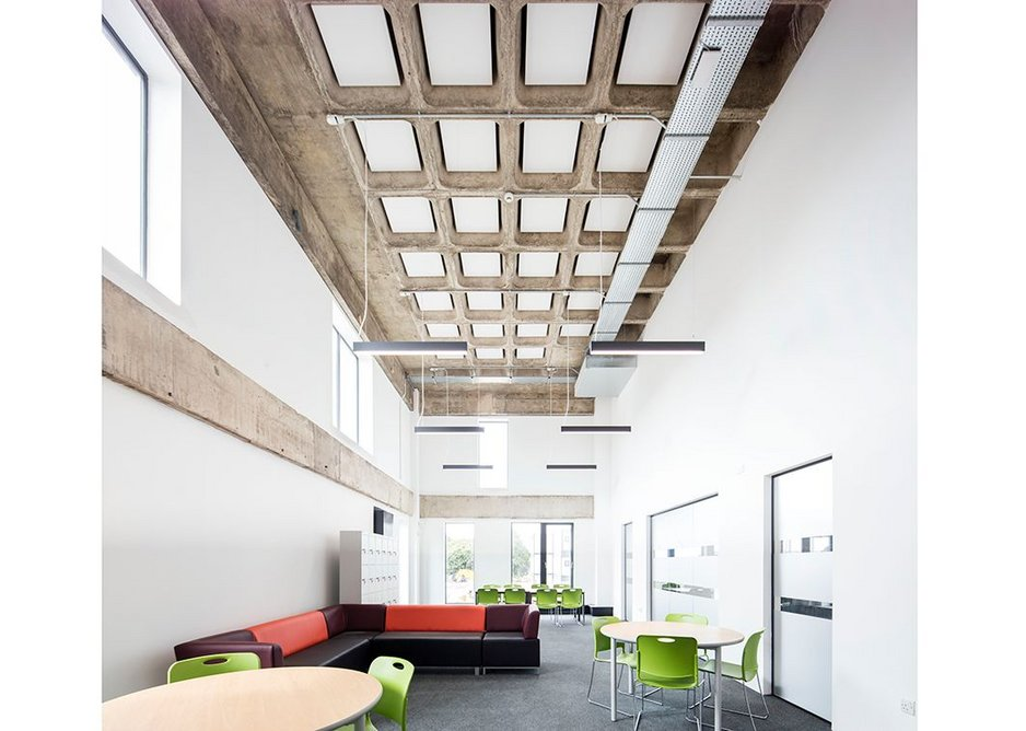 Concrete coffers of the original building have been acoustically attenuated.