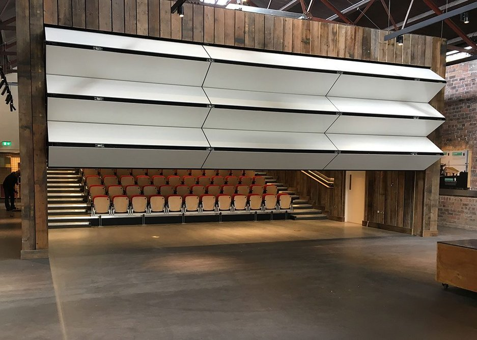 Style's vertically rising Skyfold moveable wall at The Engine Shed building conservation centre in Stirling, Scotland. Skyfold takes up no floor space at all once opened.