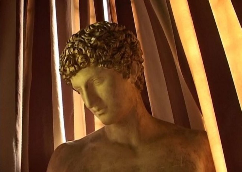 One of the countless statues adorning Gabriele D'Annunzio's Villa Cargnacco in Gardone Riviera, Italy, designed by Giancarlo Maroni (1921-55). From D'Annunzio's Cave, a film by Heinz Emigholz (2005).