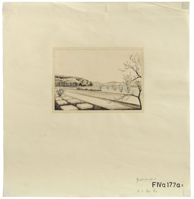 Competition drawings, Kviberg Cemetery Ink, pencil and watercolour on tracing paper mounted on paper, 1927, 37 × 38 cm, Region Västra Götaland and City of Gothenburg Archives.