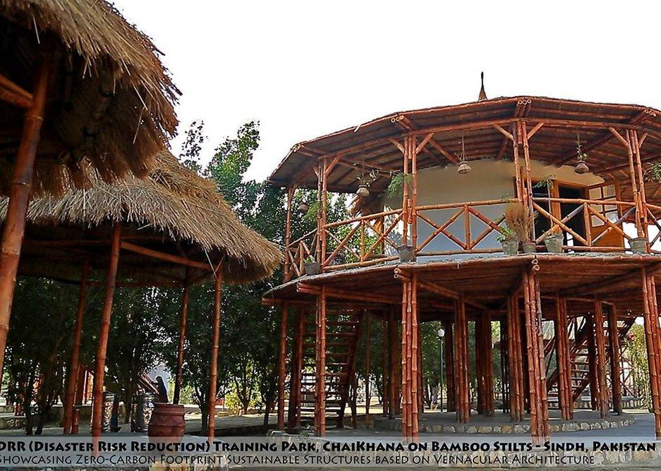 Women's Centre on stilts at Disaster Risk Reduction training park.