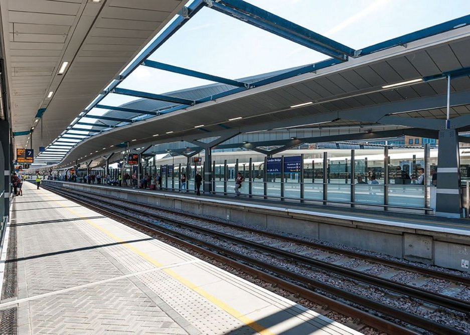 Braced gaps between platform roofs were left open to the elements to reduce maintenance requirements.