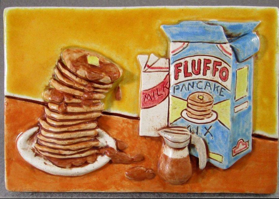 'Fluffo pancakes' ceramic tile by artist. Greg Hicho.
