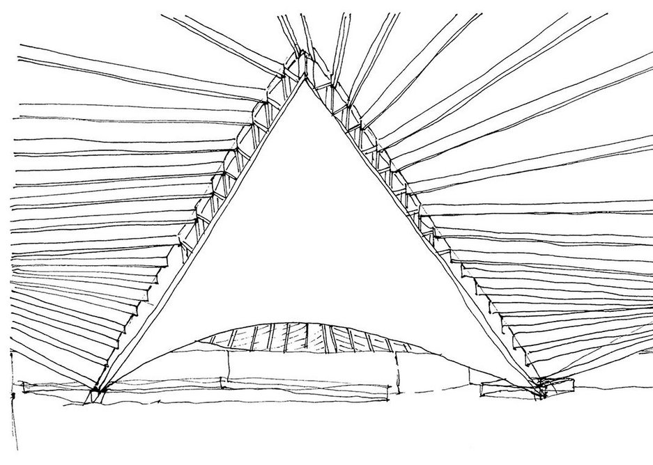 John Pawson sketch is all about the existing roof.