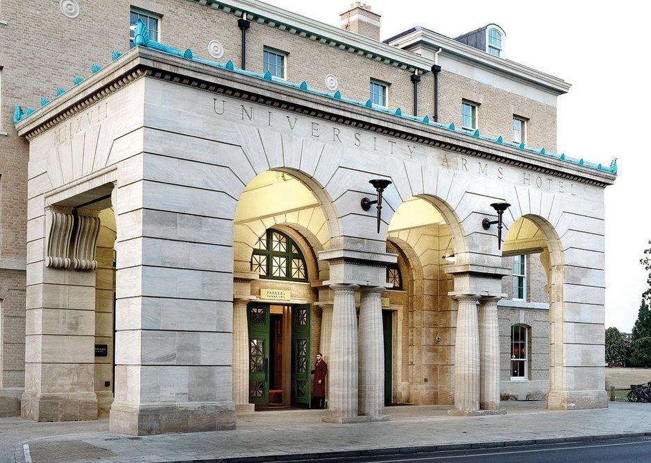 The monumental porte-cochère of  The University Arms, Cambridge, designed by John Simpson Architects.