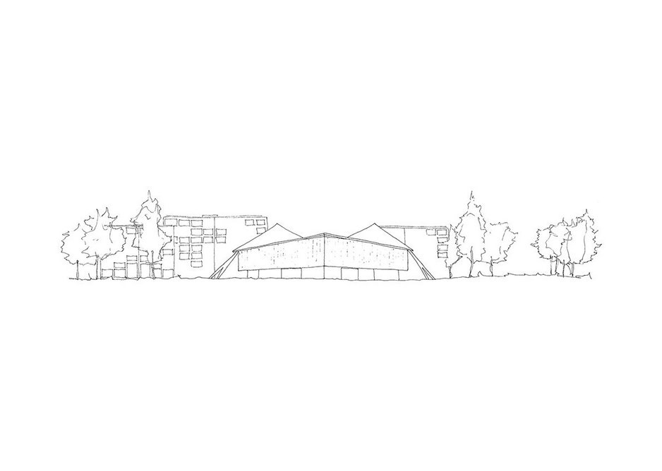 John Pawson' third sketch captures the pavilion in its OMA-designed setting