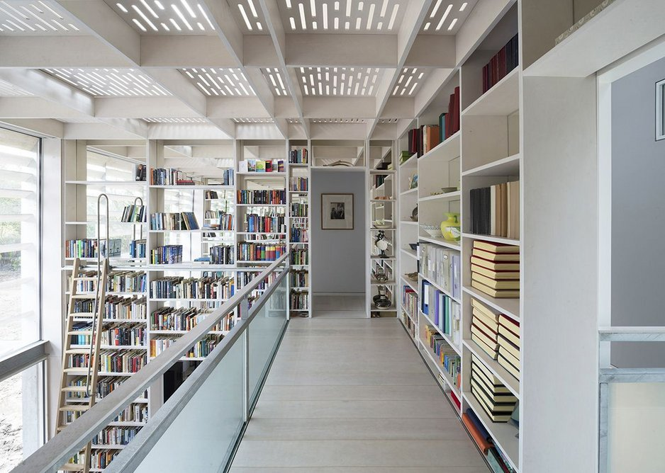 The library of Old Shed, New House won praise from the Stephen Lawrence Award judges for its clever use of light and mirrors.
