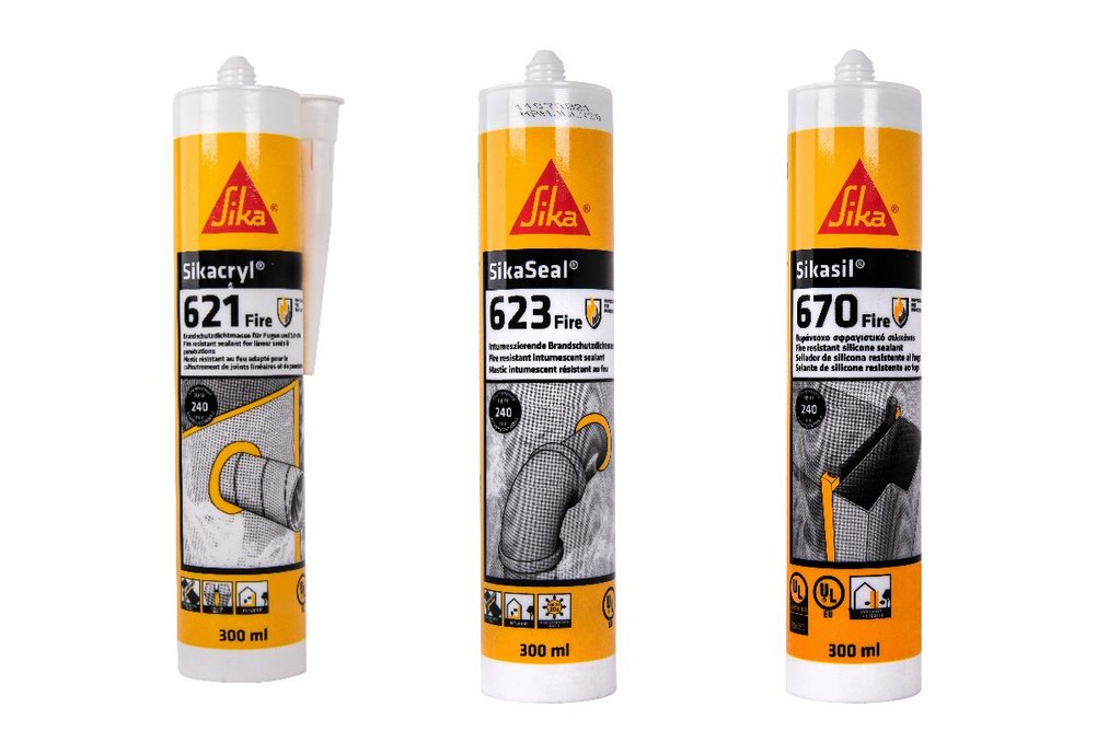 Sikacryl 621 Fire acrylic sealant, SikaSeal 623 Fire intumescent sealant and Sikasil 670 Fire silicone sealant.