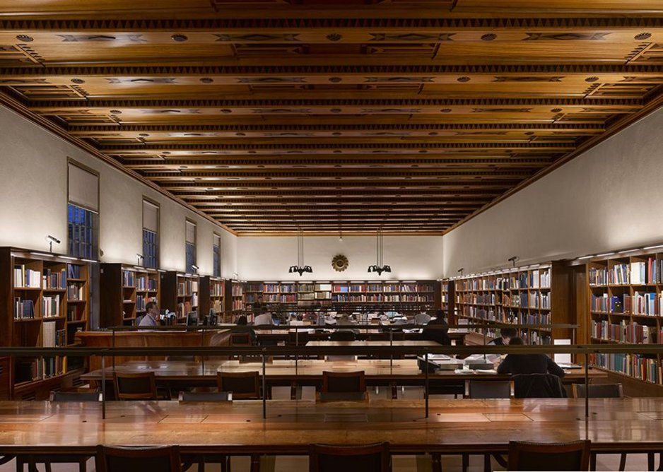 Scott's strange Art Deco reading room ceiling soffit has been restored and his desks sliced in half, extended and elegantly reassembled.