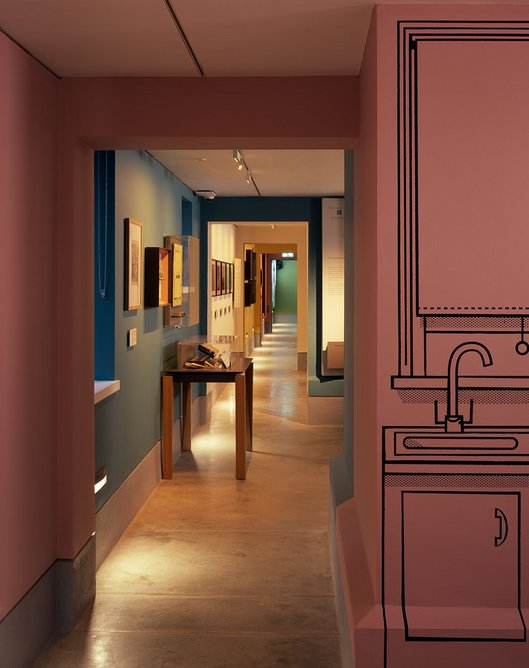 Wright & Wright created a basement exhibition space to house the museum's new Home Galleries. Exhibition design is by ZMMA.