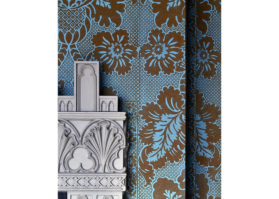 Detail of fireplace and wallpaper in Mr Walpole's Bedchamber.