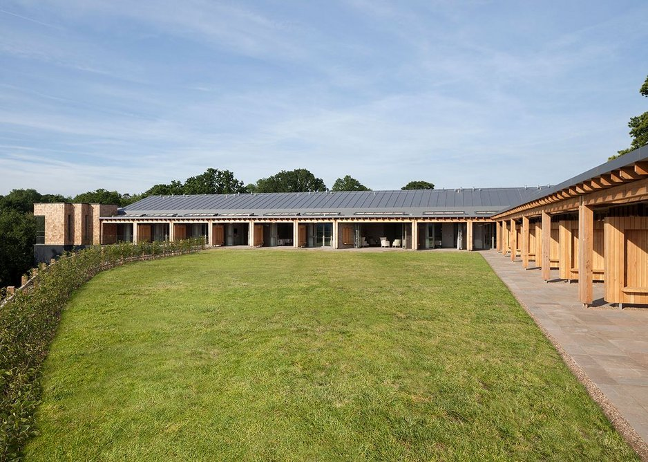 The building is set out in an L-shape, to allow the patient bedroom views over the garden. MacEwen Award 2019 shortlisted KKE's St David's Hospice Inpatient Unit, Newport, Wales.