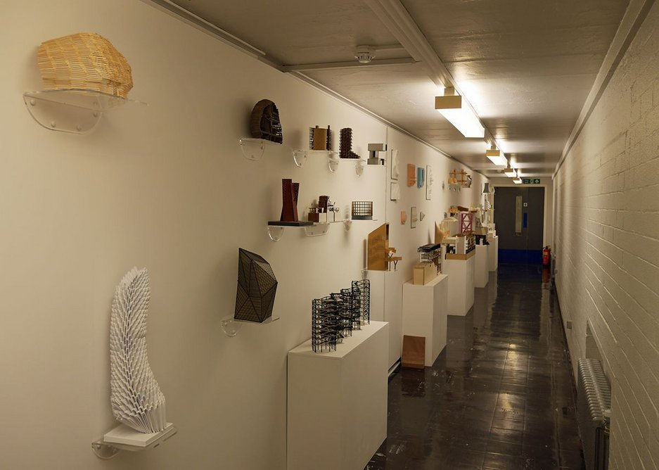 Students' 3D work displayed outside the workshops.