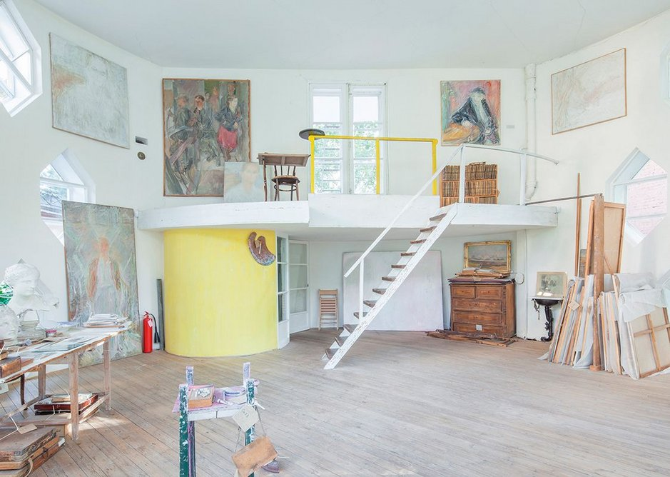 Melnikov House after restoration – view from the north of the second floor studio, with mezzanine and door to roof terrace.