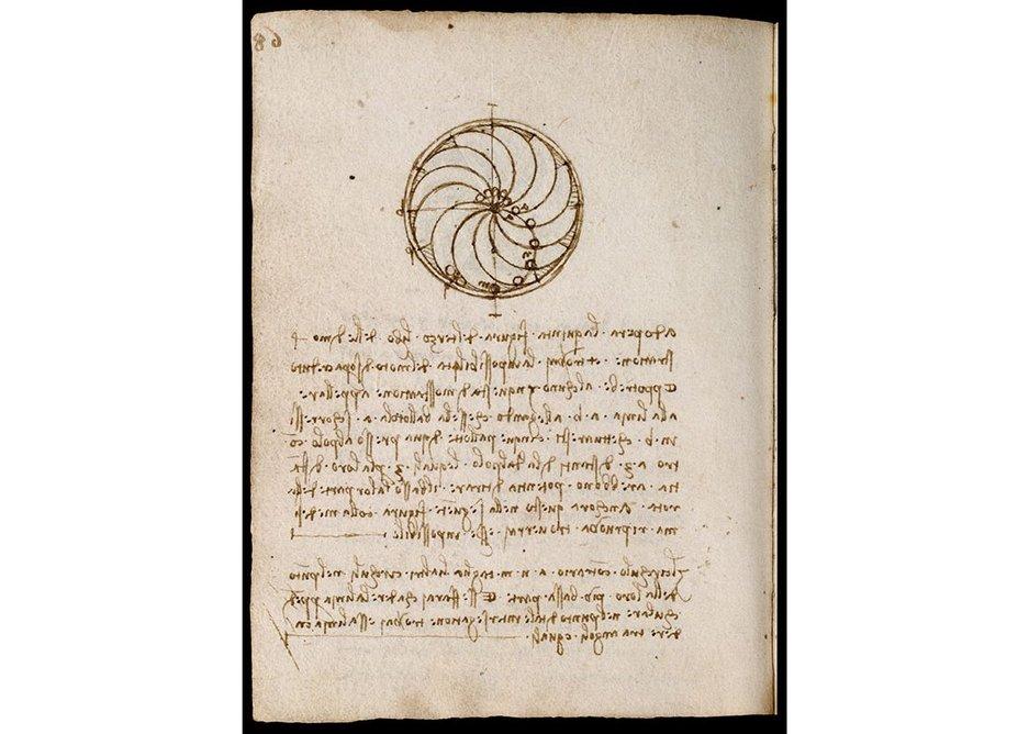 Page from one of Leonardo da Vinci's notebooks, which can be seen on the Victoria & Albert Museum website. Codex Forster II (folio 91 verso), Leonardo da Vinci, late 15th – early 16th century, Italy. Museum no. MSL1876Forster141II. © Victoria and Albert Museum, London