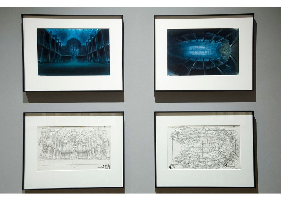 Exhibition installation of Anime Architecture at House of Illustration, showing artwork from Ghost in the Shell.
