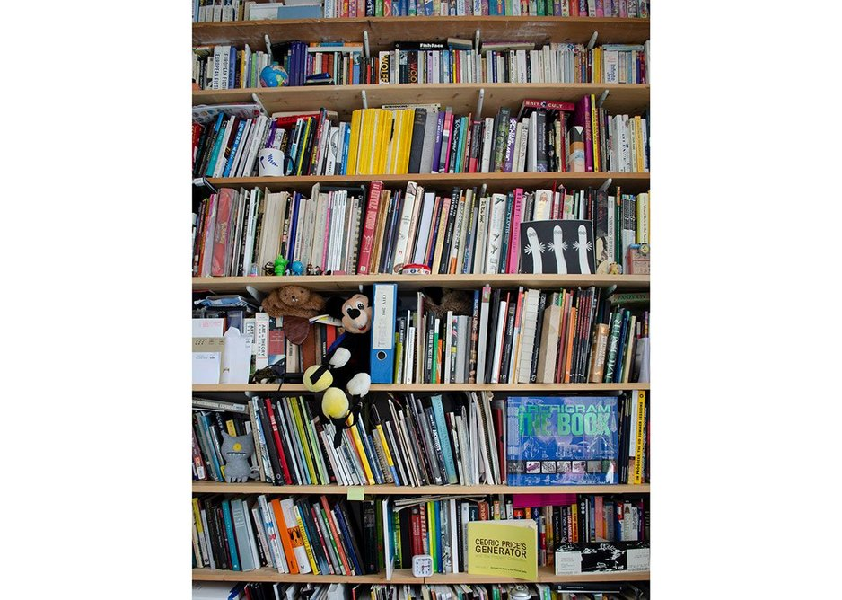 The eclectic range of books and toys in Peter Cook's front room.