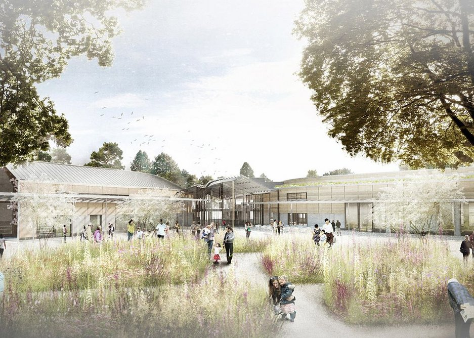 Exterior view of WilkinsonEyre's new library, cafe and educational building at RHS Wisley.