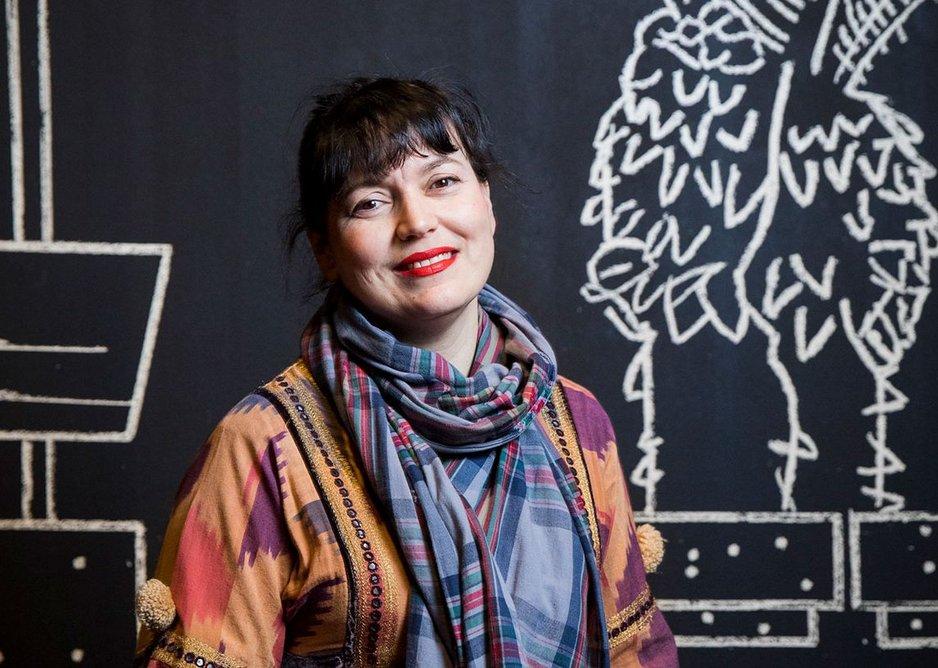 Artist Yto Barrada at her exhibition Yto Barrada: Agadir. Installation view, The Curve, Barbican Centre, 7 Feb – 20 May 2018.