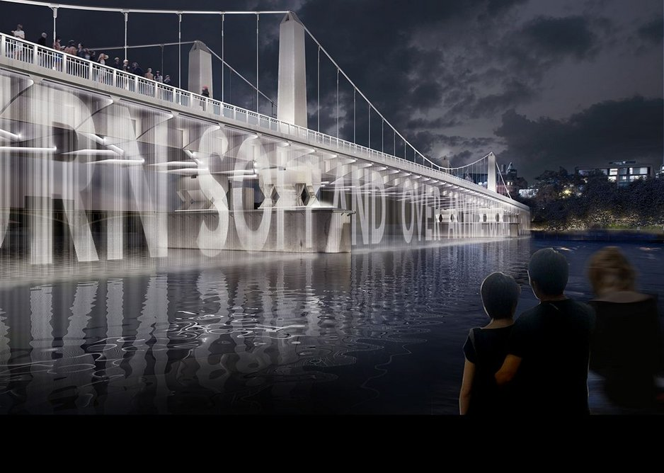 Chelsea Bridge – Water Screen with Projected Content.