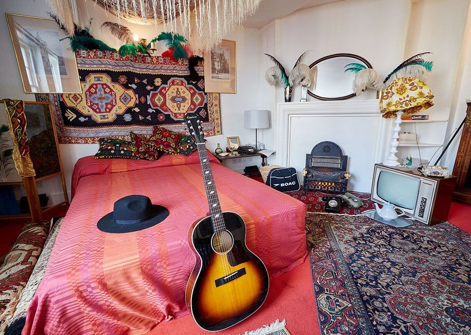 The main room in the Hendrix Brook Street flat. Many of the original furnishings were from John Lewis.