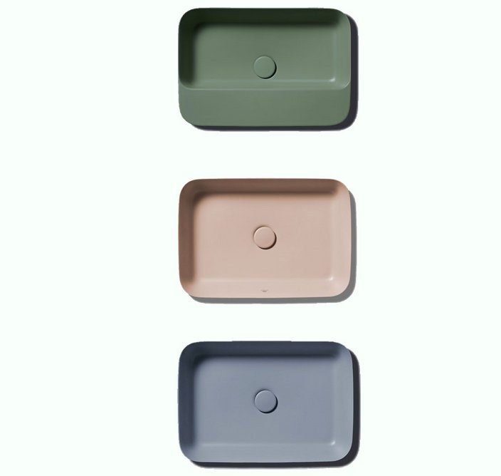 The Ipalyss range, designed by Robin Levien for Ideal Standard, in sage, nude and powder.