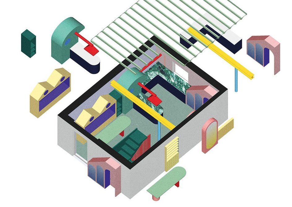 Axonometric describing the elements of the architects' intervention.