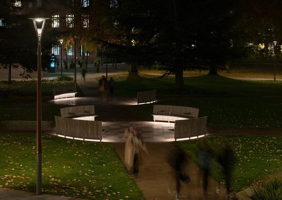Path intersections are characterised by 'meeting point' seating; downlighting emphasises them in the relative darkness around.