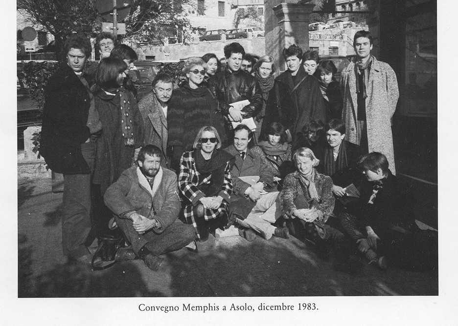 Memphis meeting at Asolo, Italy, December 1983. From the book Memphis, Research, Experience, Results, Failures and Successes of the New Design by Barbara Radice, ed Electa. Courtesy Memphis Srl.