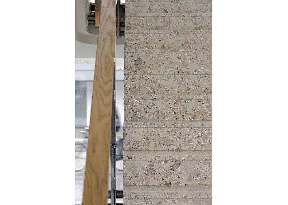 Travertine and cherry wood stair.