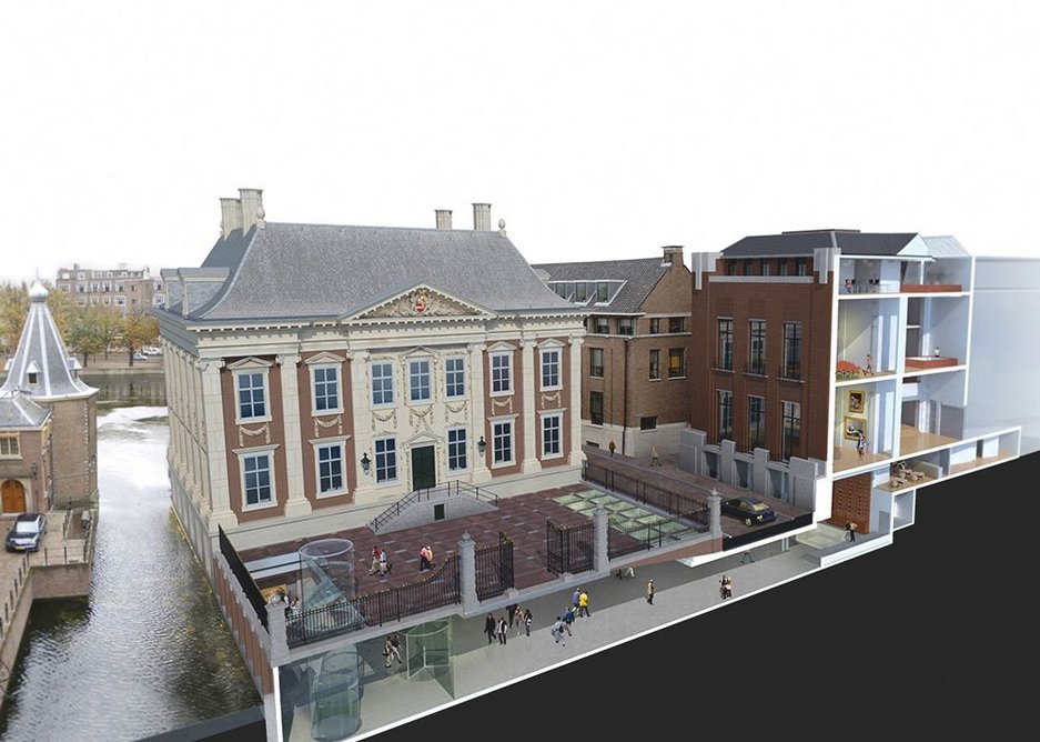 West/east section through the new Mauritshuis gallery showing the 5m high lobby linking the 1644 house with the de Witte extension.