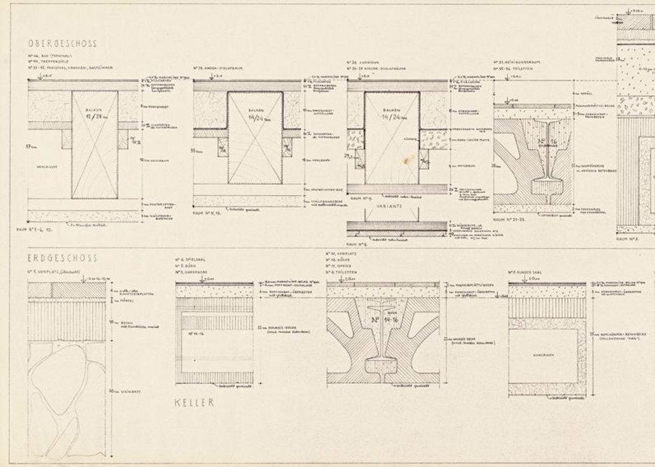 Hannes Meyer, Sectional views: ceilings, floors, Genossenschaftliches Kinderheim / Cooperative children's home, Mümliswil, Switzerland, 1938 © gta Archives, ETH Zurich: 28-1937-1-64.